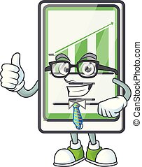 Businessman up chart vertical tablet with character