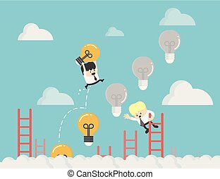 businessman up the Ladder light bulb .idea bulb among other no idea Business strategy planning objects icon set collage.