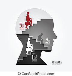 businessman up the Ladder paper cut style template / can be...