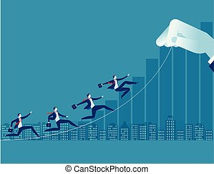 Businessman up toward target. Concept business illustration. Path to success