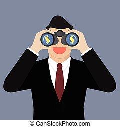 Businessman use binoculars looking for money