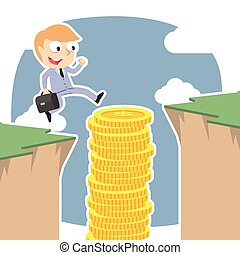 Businessman use coins stack to jump over cliff