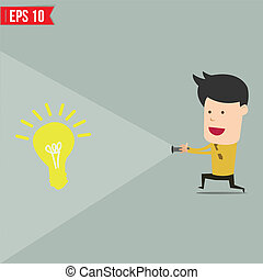 Businessman use flashlight find an idea