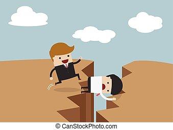 Businessman use himself as bridge,