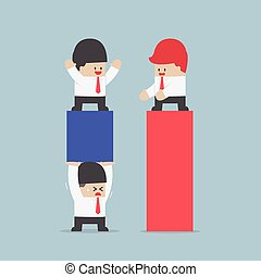 Businessman use his worker to carrying a business chart to improve their business