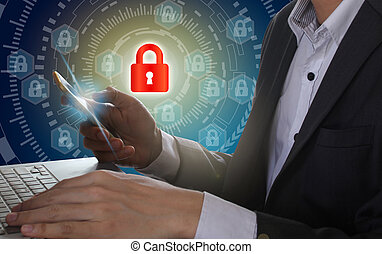 Businessman use Laptop and smartphone with padlock and circle technology background, Cyber Security Data Protection Business Technology Privacy concept, Internet Concept of global business