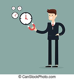 Businessman use magnet attracts time. Need and getting more time. Cartoon Vector Illustration.