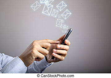 Businessman Use Smart Phone With Email Icons