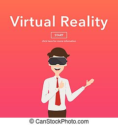 Businessman Use Virtual Reality Web Page Concept.