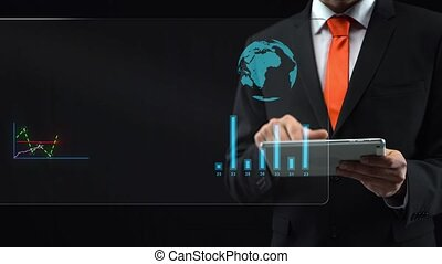 Businessman uses holographic interface, drawing an ascending financial chart. Display logistics information on a world map. Touchscreen.