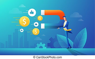 Businessman using a big magnet to attract money. Vector artwork illustration. successful business idea, financial success, gain, and profit.