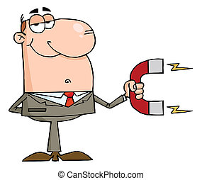 Caucasian Businessman Holding A Strong Magnet