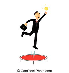 Businessman using a trampoline trying to catch an idea vector Illustration