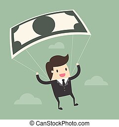 Businessman Using Bank Note As a Parachute.