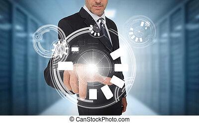 Businessman using circle interface
