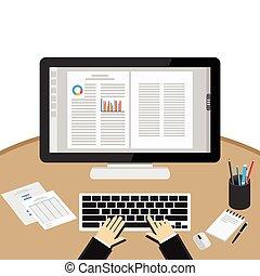 Businessman Using Computer At Desk. Word processor ...
