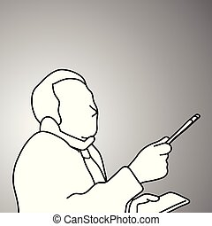 businessman using desk telephone on his shoulder and taking notes on paper vector illustration doodle sketch hand drawn with black lines isolated on gray background. Business concept.