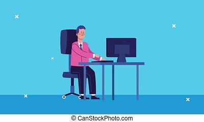 businessman using desktop in the office animated ,4k video ...