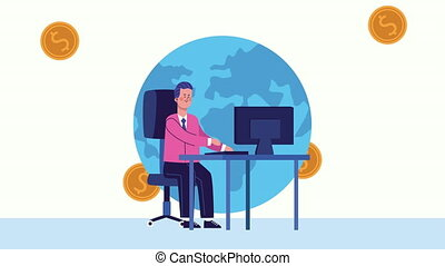 businessman using desktop in the office character animated ,...