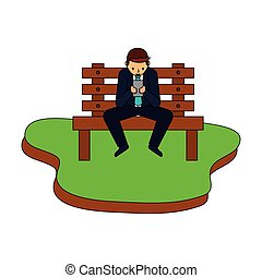 businessman using device on bench