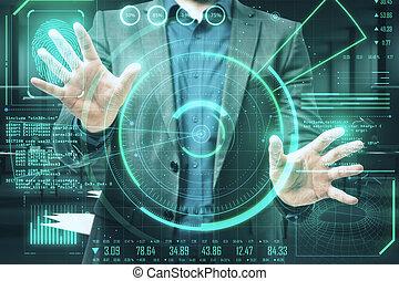 Businessman using digital security interface on virtual screen.