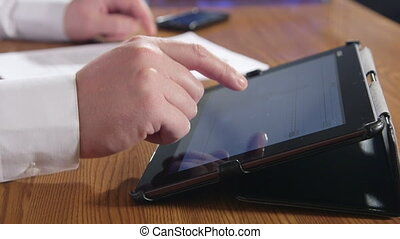 Businessman using digital tablet