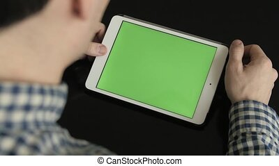 Businessman Using Digital Tablet with Green Screen