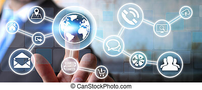 Businessman using digital tactile screen interface with web ...