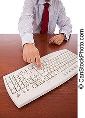Businessman using his computer