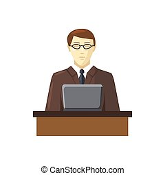 Businessman using his laptop icon, cartoon style