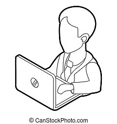 Businessman using his laptop icon, outline style