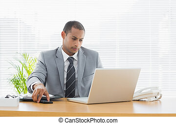 Businessman using laptop at office desk
