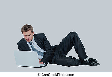 businessman using laptop.