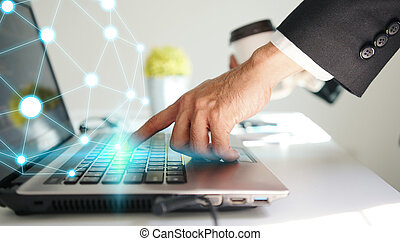 Businessman using laptop connecting, Social network concept.