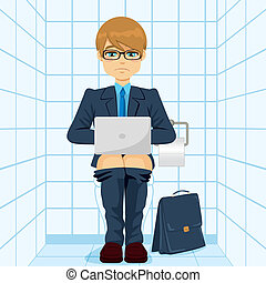 Businessman Using Laptop On Toilet