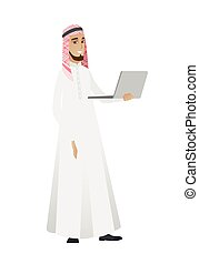 Businessman using laptop vector illustration.