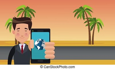 Businessman using location app from smartphone HD animation...