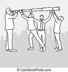 businessman using long telescope with his three assistants to help vector illustration doodle sketch hand drawn with black lines isolated on gray background. Teamwork business concept. Editable artwork.