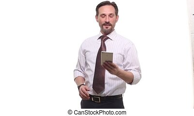 Businessman using mobile or smart phone - Portrait of happy...
