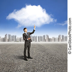 businessman using mobile phone with cloud computing and application concept