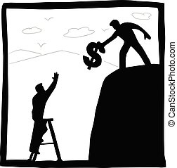 businessman using money to help his friend up mountain vector illustration with black lines isolated on white background. Business teamwork concept.
