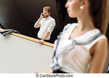 Businessman using phone