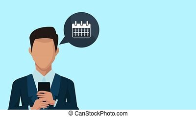 businessman using smartphone and apps animation