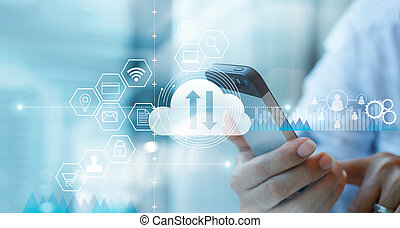 Businessman using smartphone and connecting cloud computing service with icon customer network connection.  Cloud device online storage. Cloud technology internet networking concept.