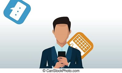 businessman using smartphone animation
