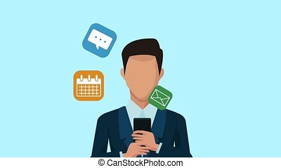 businessman using smartphone animation