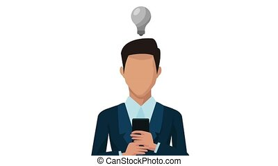 businessman using smartphone with bulb animation