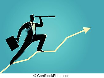 Businessman using telescope on graphic chart - Silhouette of...