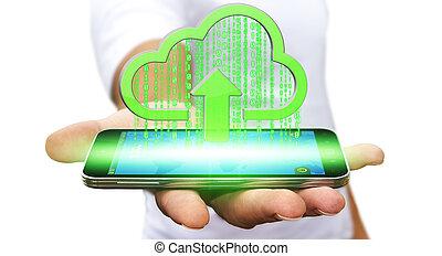 Businessman using the Cloud
