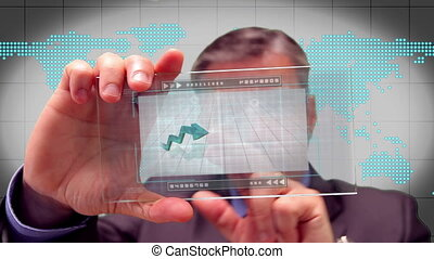 Businessman using touchscreen
